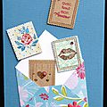 32. bleu, fuchsia et kraft - enveloppe et envolée de timbres