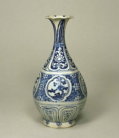 Blue-and-White Vase with Pine Bamboo and Plum Tree Design, Vietnamese, 15th Century
