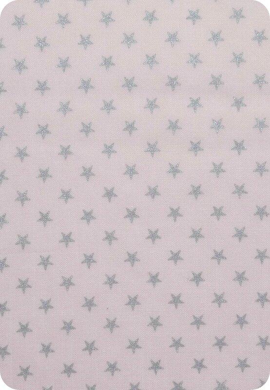 Tissu France Duval rose clair étoiles argentées