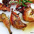 Cuisses de cailles au magret de canard farci, déglacées au vinaigre de citron calamasi hummmmmmmmmm