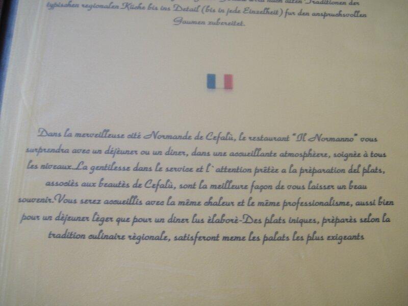 Cefalu - cité normande dans le restaurant sicilien