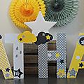 Lettres décorées prénom thème étoile et nuage