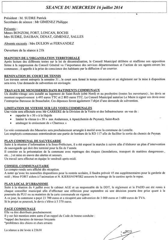 Compte Rendu Conseil Municipal séance du 16 juillet 2014