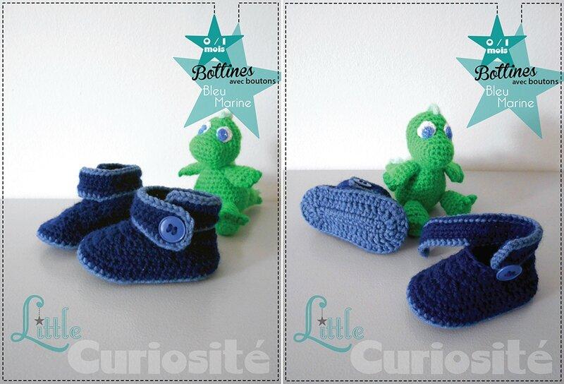 Chaussons Fait-main au Crochet - Bottines à boutons Bleu marine - Cadeaux de Naissance Made in France