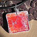Pendentif carré rouge arg