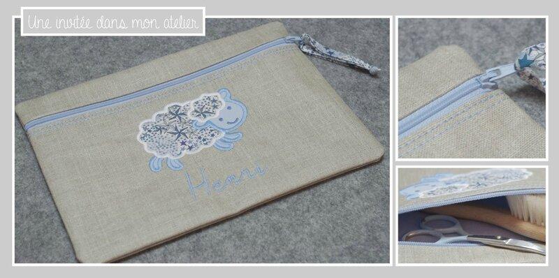 trousse plate-personnalisée-Liberty adelajda bleu-cadeau de naissance