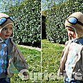 Bonnet Bébé Fait-main - Crochet - Pilote Aviateur Rétro - Modèle Original - Cadeaux de Naissance à 3 ans - étiquette personnalisée (2)