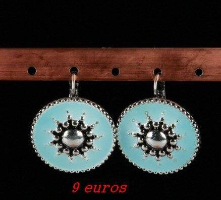 15cmis Boucles d'oreilles en émail bleu ciel avec soleil métal longueur 2,5 cm 9