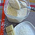 Mousse au chocolat blanc et coco