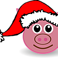 Pig-01-Face-Cartoon-Pink-with-Santa-hat