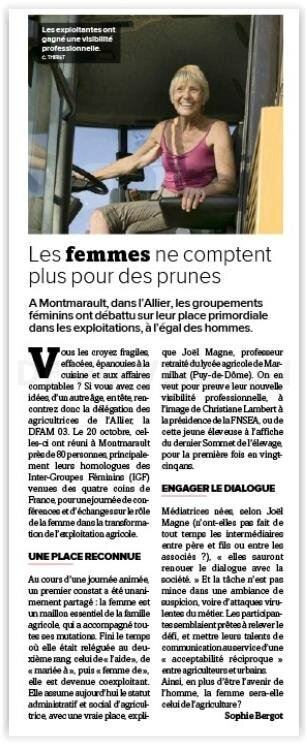 """La France Agricole 27 OCTOBRE 2017 (3718) Sophie Bergot """"Les femmes ne comptent plus pour des prunes"""" ... Vous en doutiez ?"""