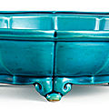 A rare turquoise-glazed barbed narcissus bowl, seal mark and period of yongzheng (1723-1735)