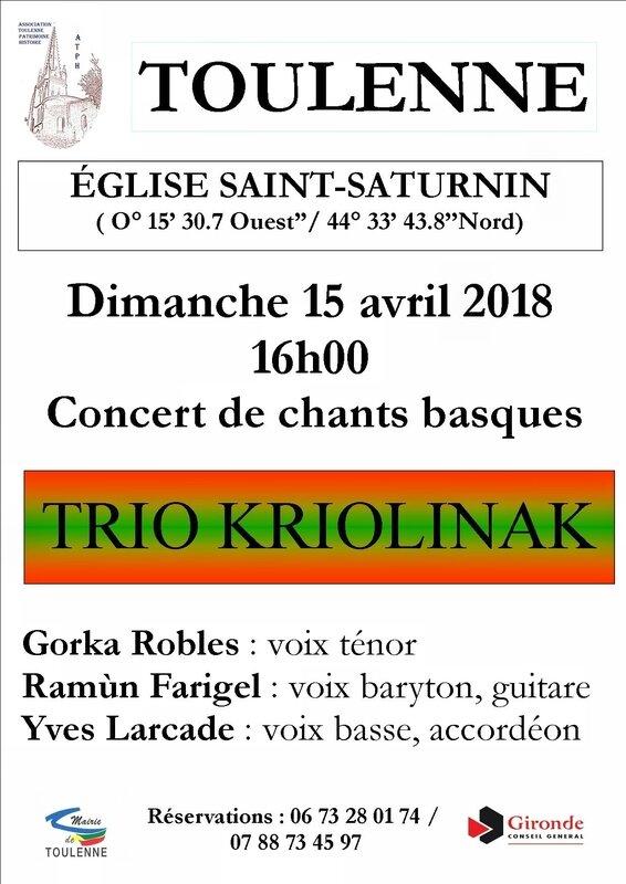 TRIO KRIOLINAK concert TOULENNE dimanche 15 avril 2018