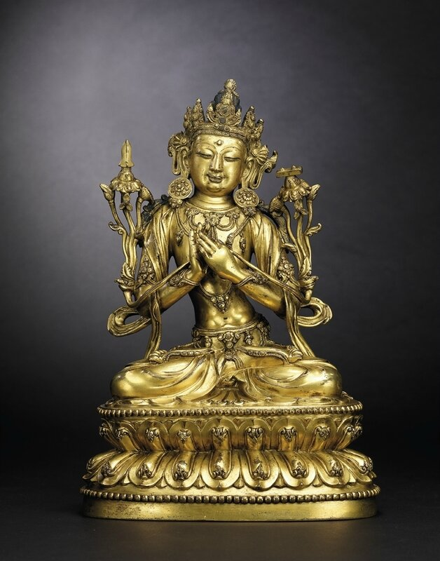 An extremely rare gilt-bronze figure of Manjusri,Yongle incised six-character presentation mark and of the period (1402-1424)