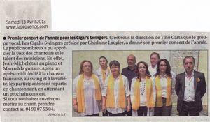 Article de Presse du samedi 13 Avril 2013