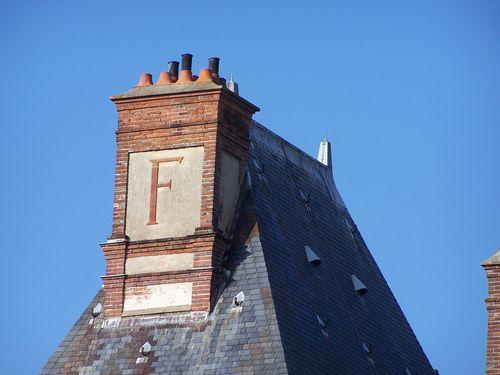 Fontainebleau, château - cheminée avec F de François I