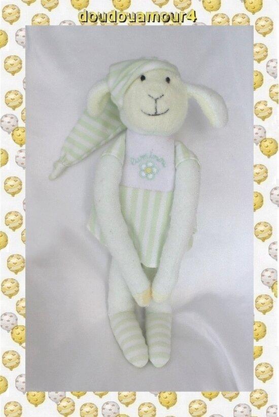 Doudou Peluche Agneau Mouton Robe Rayures Vert Blanc Jemimi Luminou