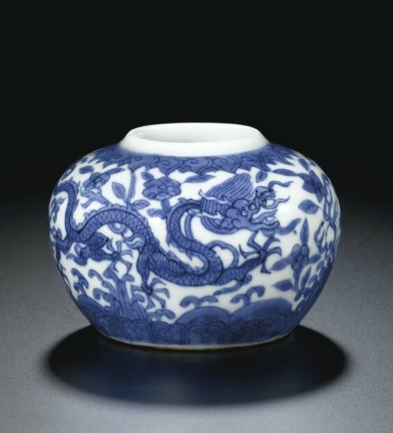 A small blue and white 'Dragon' jar, mark and period of Wanli