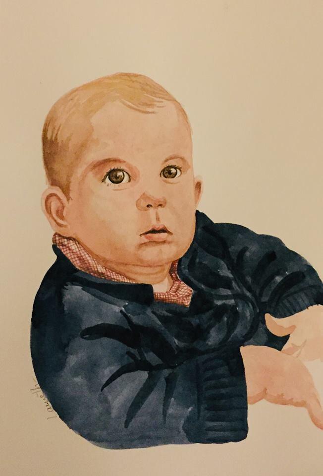 Portrait Antoine à l'aquarelle
