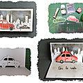 Carte en pas à pas : un modèle de petite voiture kirigami pop-up et finitions aux encres et pochoirs