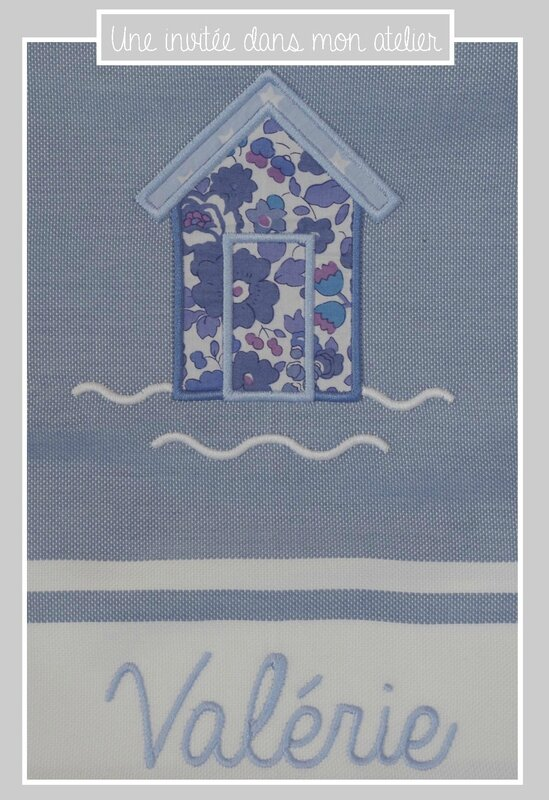 fouta-personnalisable-Liberty betsy bleu