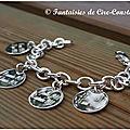 Argent massif Bracelet médailles plates 20 mm détail