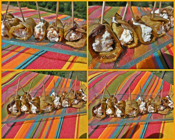 roulés aubergines chèvre abricots