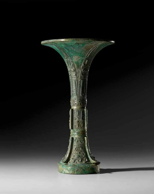 A Finely Cast Archaic Bronze Ritual Wine Vessel, Gu, Shang Dynasty, Anyang phase (1300–1050 BC)