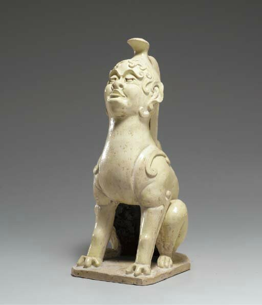 A straw-glazed pottery figure of an earth spirit, Sui-early Tang dynasty, 6th-7th century