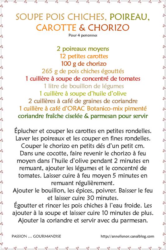 Soupe pois chiches, poireau, carotte & chorizo_fiche