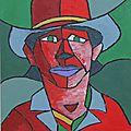 Portrait (Charles Bronson) - Palette colorée rouge
