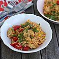 Poêlée de riz au poulet, poivrons et maïs