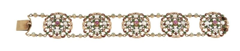 A late Victorian gold, enamel and gem set bracelet by Carlo and Arthur Giuliano, circa 1900