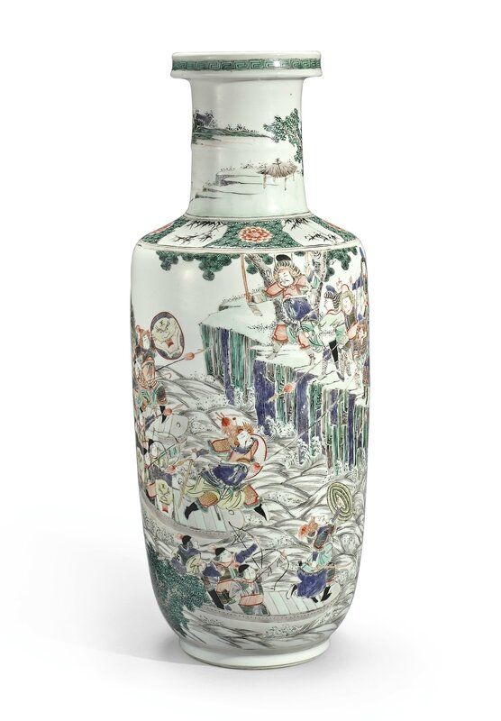 A famille-verte 'Romance of the Three Kingdoms' rouleau vase, Qing dynasty, Kangxi period (1662-1722)