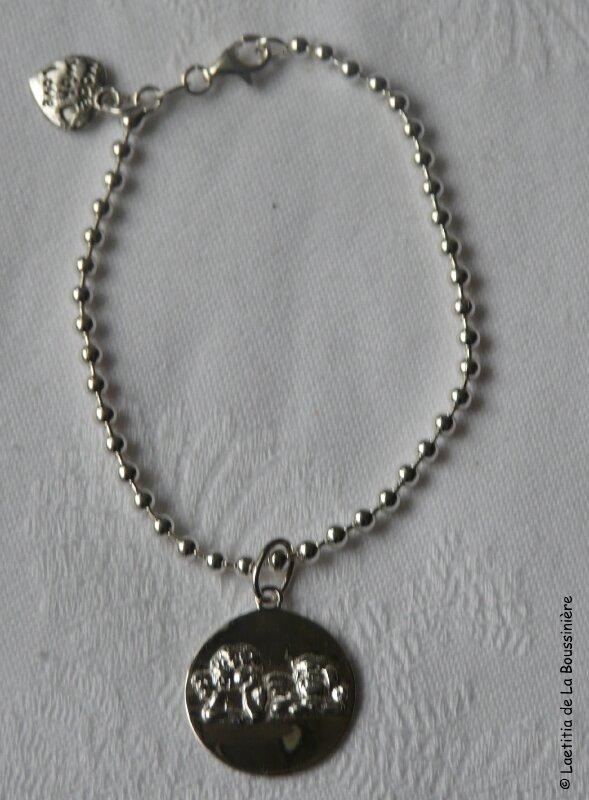 Bracelet boules argent et médaille 2 Anges