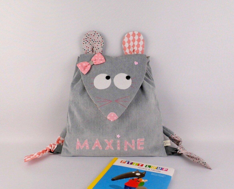 Sac à dos fille crèche maternelle personnalisé prénom Maxine gris rose tendre