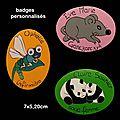 Badges en bois (libellule,koalas, souris)