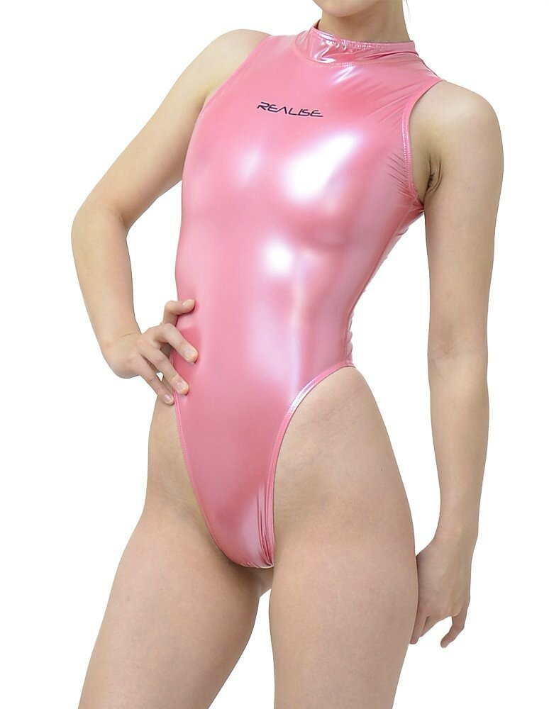 Realise Thong Rubber Swimsuit Glossy Pink Face