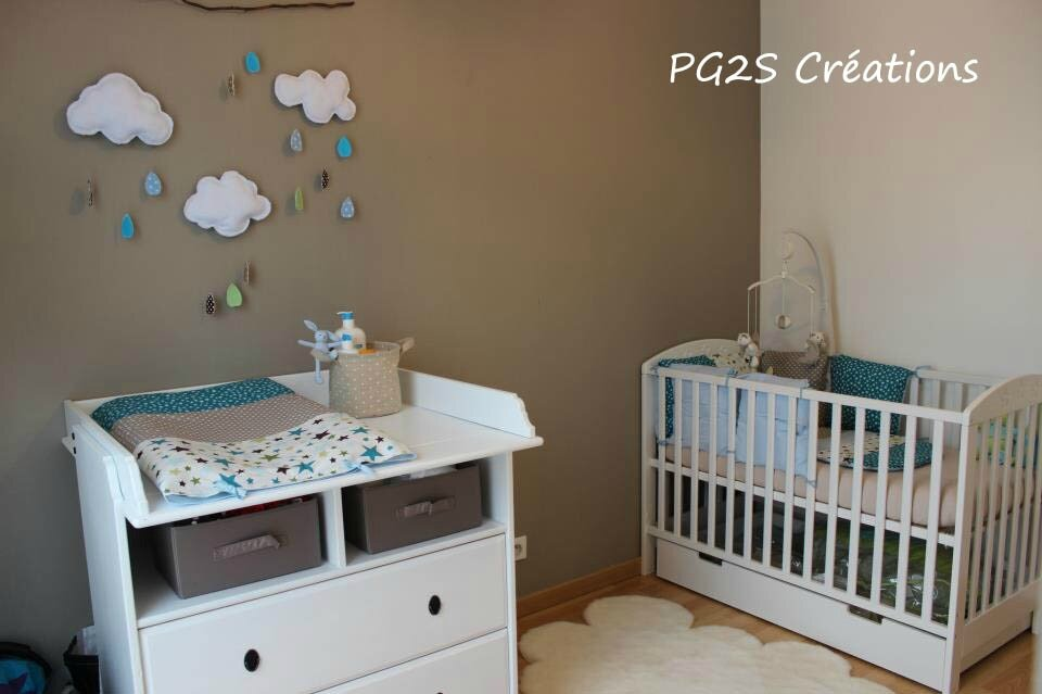 Chambre Taupe Turquoise une jolie chambre turquoise taupe et anis - etoiles et petits pois