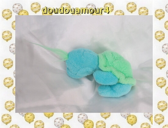 Doudou Peluche Tortue Bleu Vert Ventre Jaune Nounours
