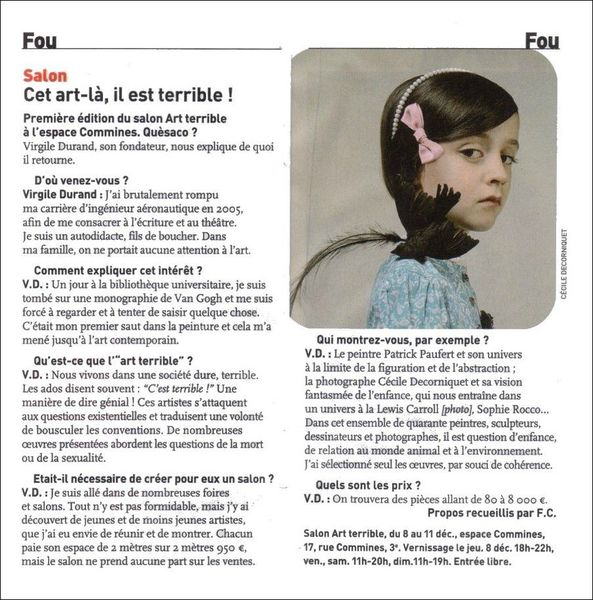 Article Télérama_Cécile Decorniquet_ArtTerrible