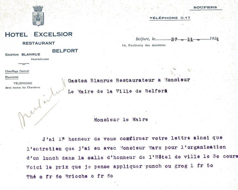 1924 11 27 Courrier Hôtel Excelsior au Maire R