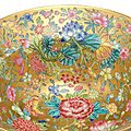 A gold-groundfamille rose'mille-fleurs' bowl, qianlong six-character seal mark in underglaze blue and of the period (1736-1795