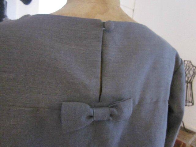 Tunique LEONTINE en lin gris et coton gris à pois blanc (11)