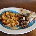 Filet mignon de porc sauce camembert et tarte fine aux pommes et au camembert