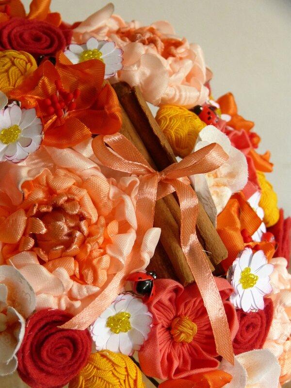bouquet orange jaune coccinelles (6)