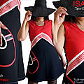 Robe Rayure noire Rouge écru style sport chic made in France ISAmade