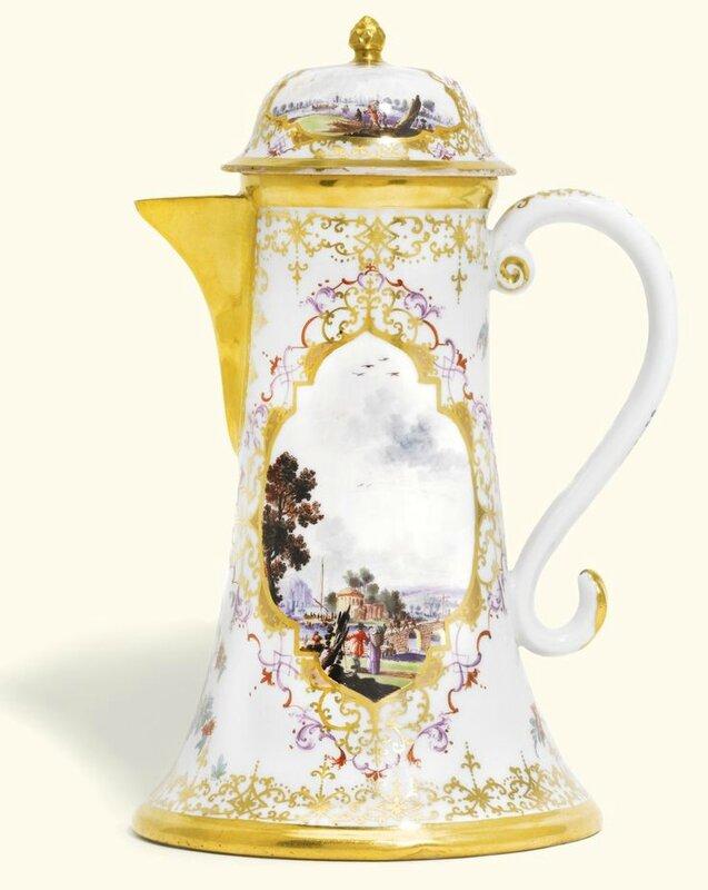 A very rare Meissen coffee pot and cover, circa 1732-34
