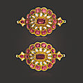 A pair of antique diamond and multi-gem child'sbazubands, mid to late 19th century
