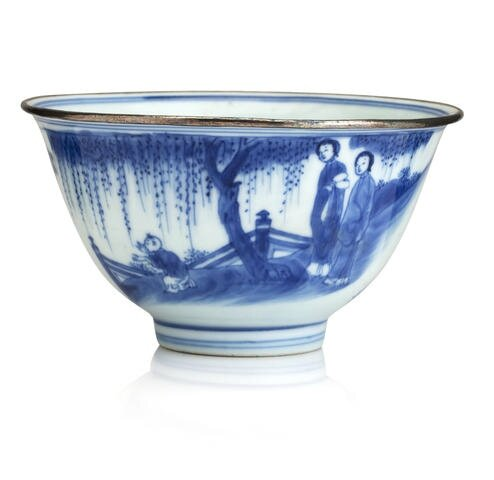 A blue and white bowl. Bearing a six character Chenghua mark but Transitional. Photo Bonhams.